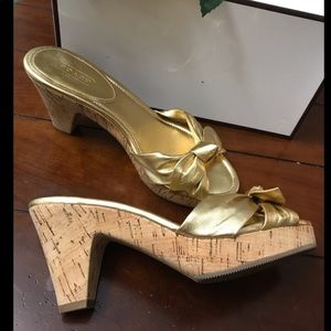 "COACH ""Karen"" Metallic Bow Cork Sandals"